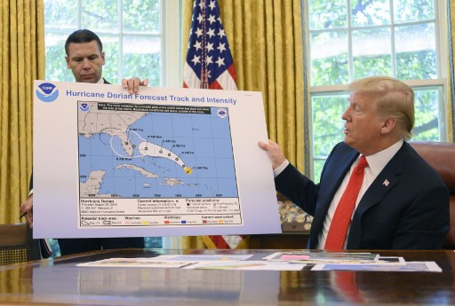Trump displays incorrectly altered map of Hurricane Dorian path