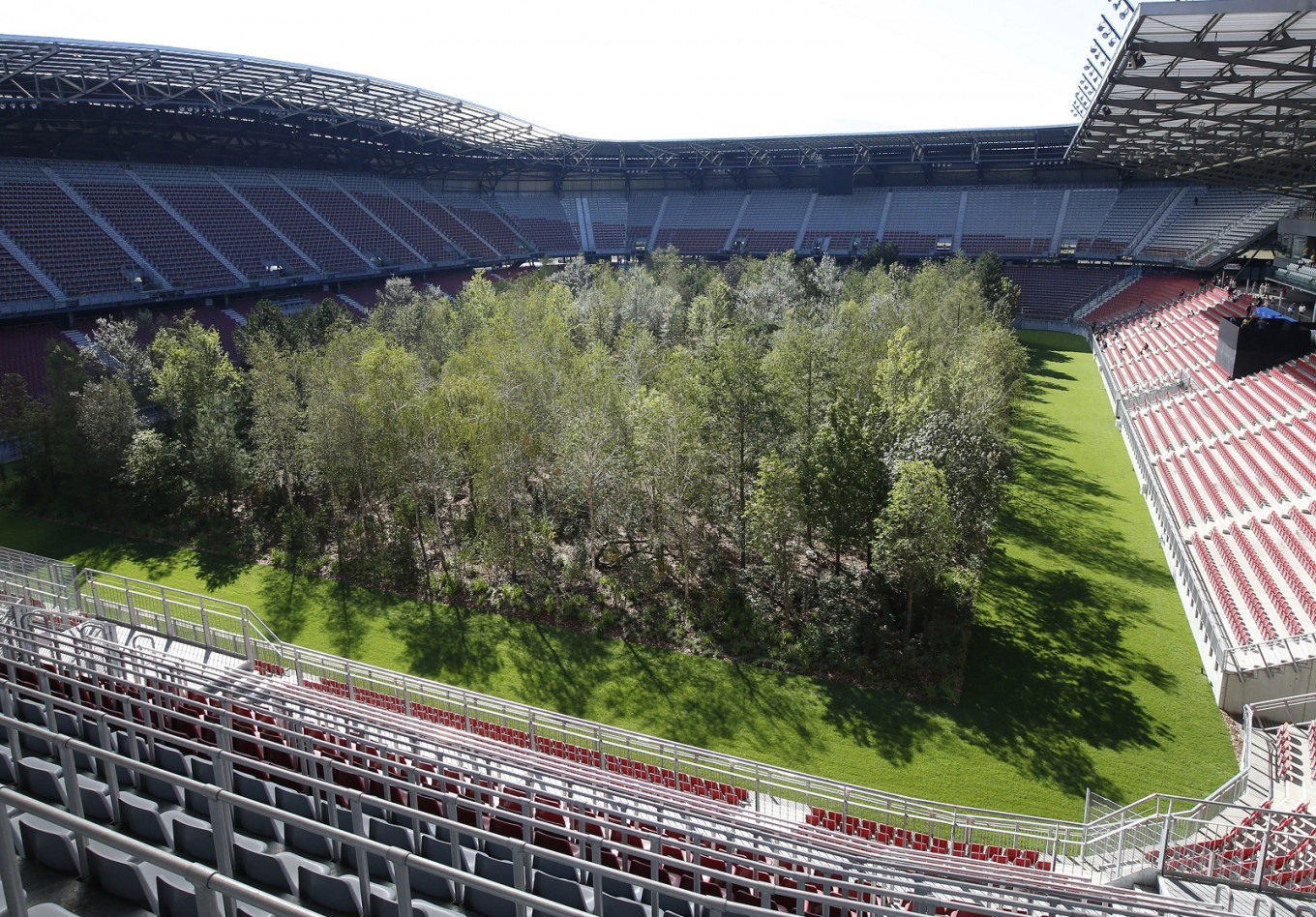 Austrian football stadium turned into a forest