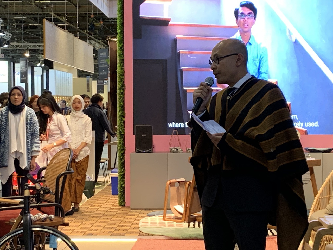 Presenting Indonesian craftsmanship: Indonesian Ambassador to France Arrmanatha Nasir opens the Indonesian Pavilion at Maison&Objet 2019 on Friday.