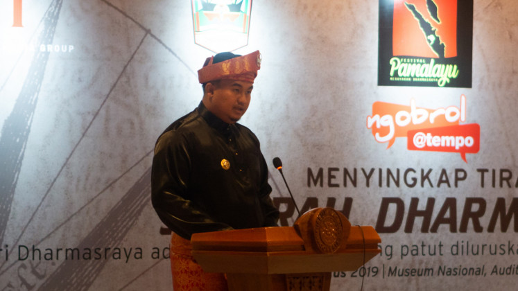 Sutan Riska Tuanku Kerajaan, regent of Dharmasraya in West Sumatra, gives a speech at the opening of Pamalayu Festival at the National Museum in Central Jakarta on Aug. 22.
