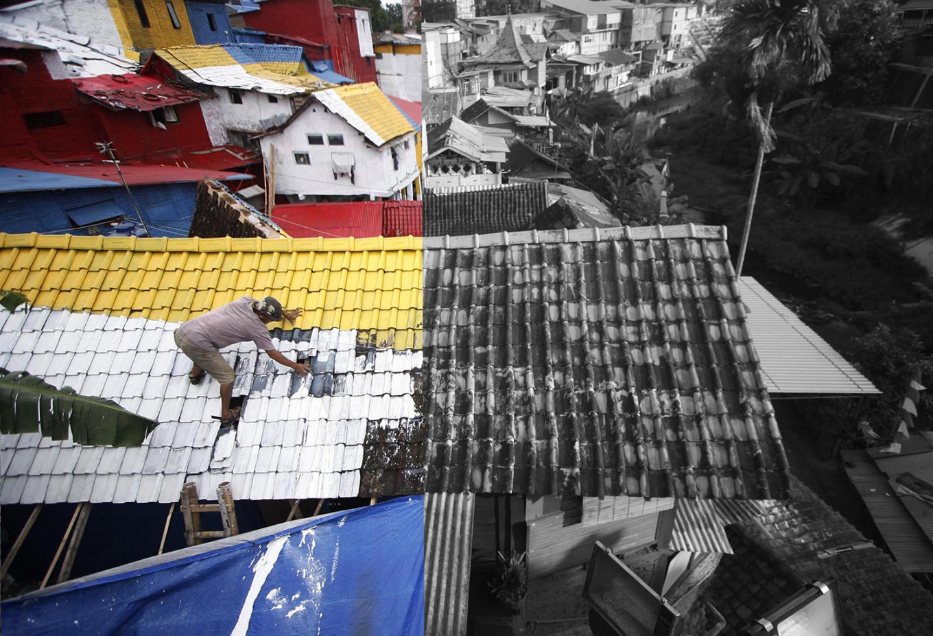 (Left) Painting the housing complex in April 2015. (Right) The colors have faded four years later. JP/Boy T Harjanto