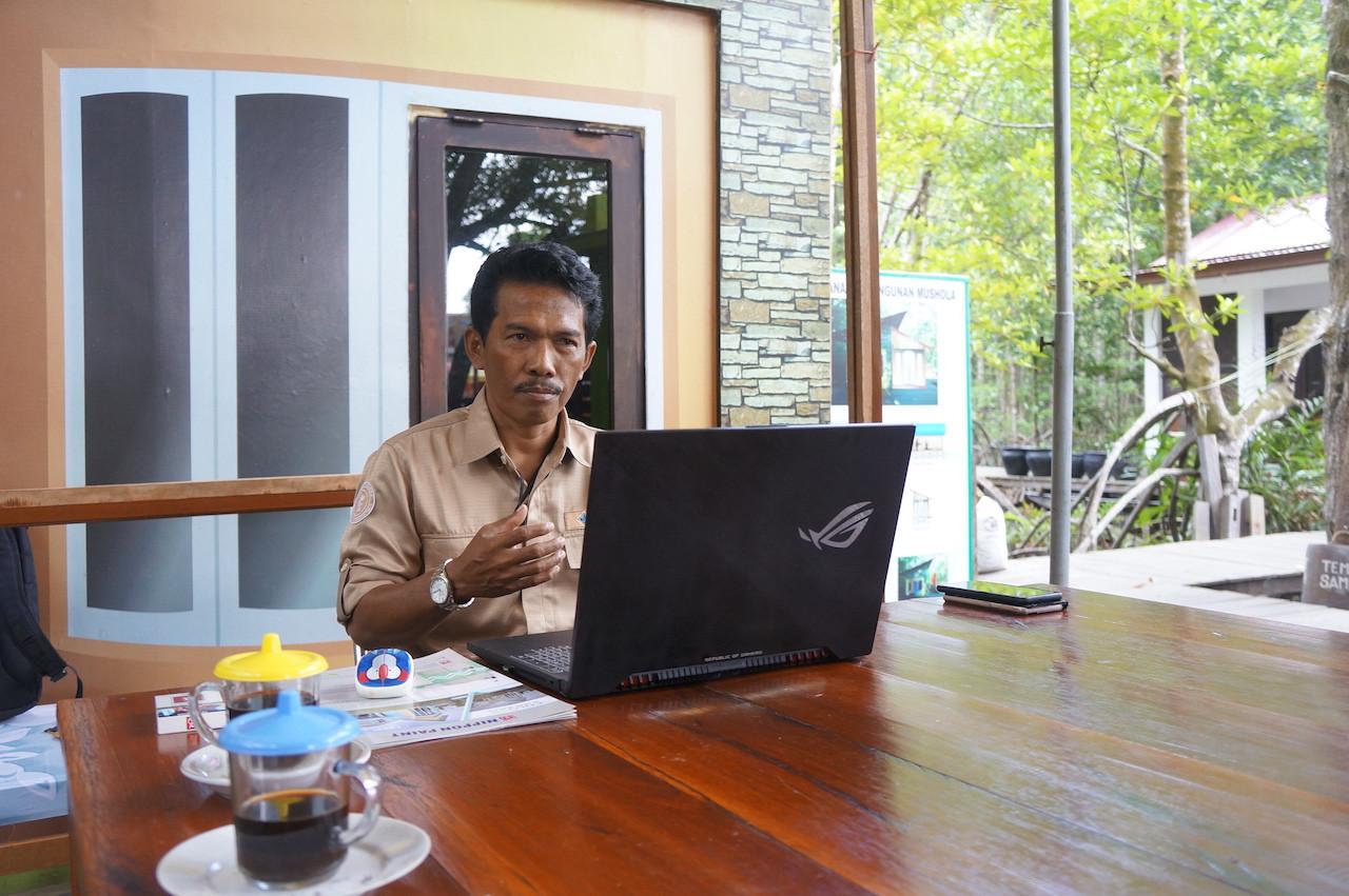Agus Bei, the environmentalist who initiated the development of the Graha Indah mangrove center in Balikpapan, East Kalimantan.
