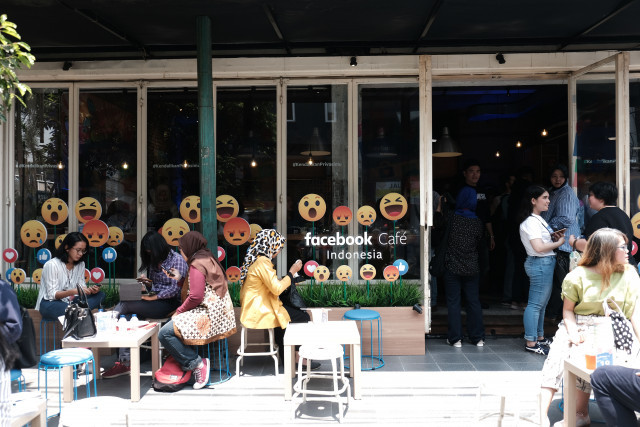 Trendy hangout: Facebook Café is part of the social media giant's campaign to raise public awareness on online privacy. The cafe opens from Friday until Sunday.