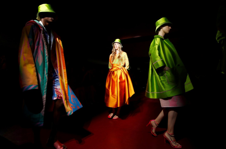 Models present creations from the Peter Pilotto Spring/Summer 2020 collection during fashion week in Milan, Italy, on September 18, 2019.