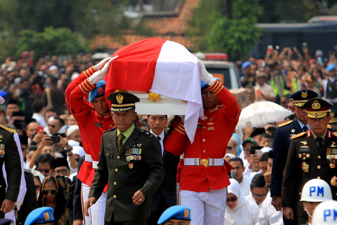 The funeral procession of Indonesia's third president BJ Habibie at the Kalibata Heroes Cemetery in South Jakarta on Thursday, September 12, 2019 JP/Seto Wardhana