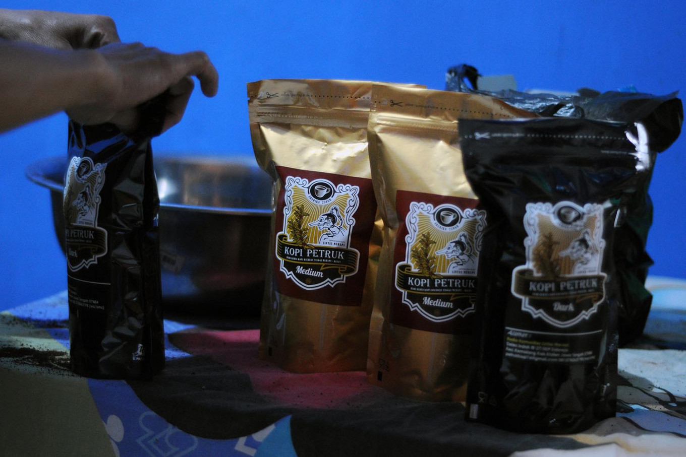 Kopi Petruk is the brand that Sukiman, a coffee farmer in Deles, Klaten regency, Central Java, uses for his coffee products. JP/Magnus Hendratmo