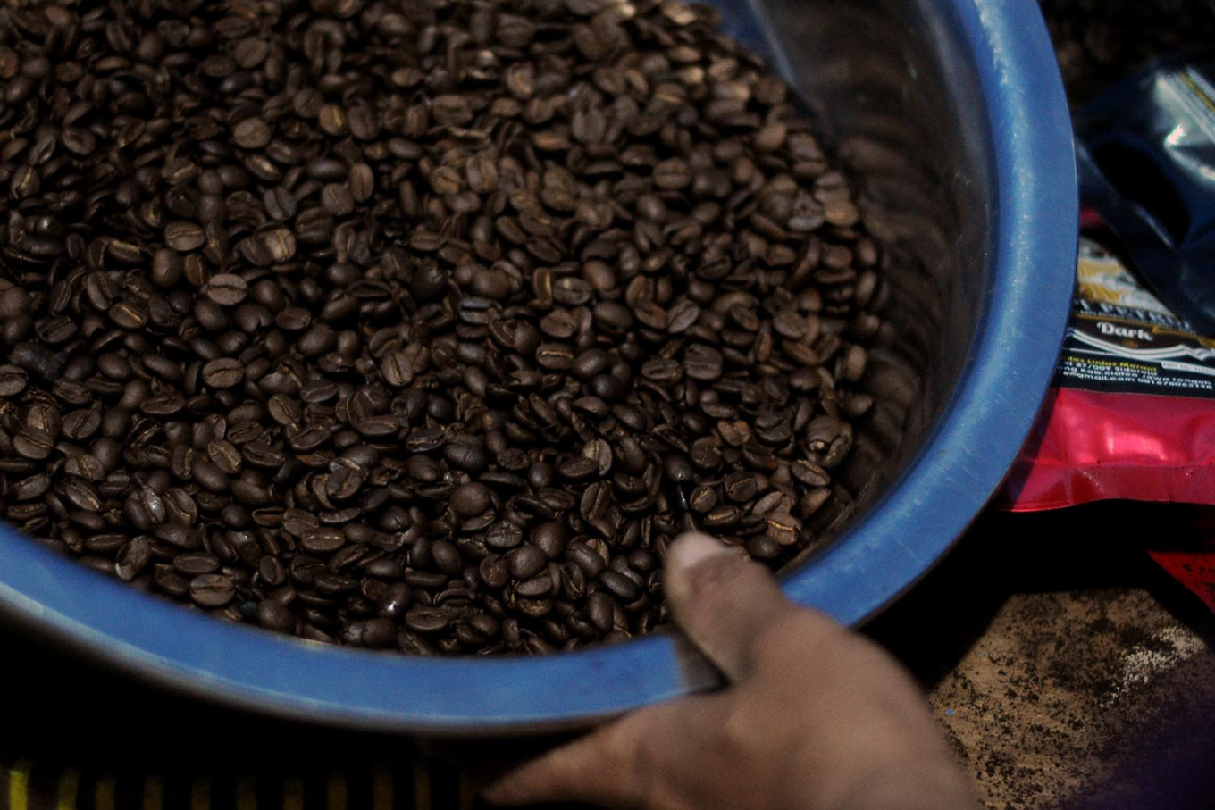 Coffee beans are ready to be milled. The black coffee has a distinctive taste. JP/Magnus Hendratmo