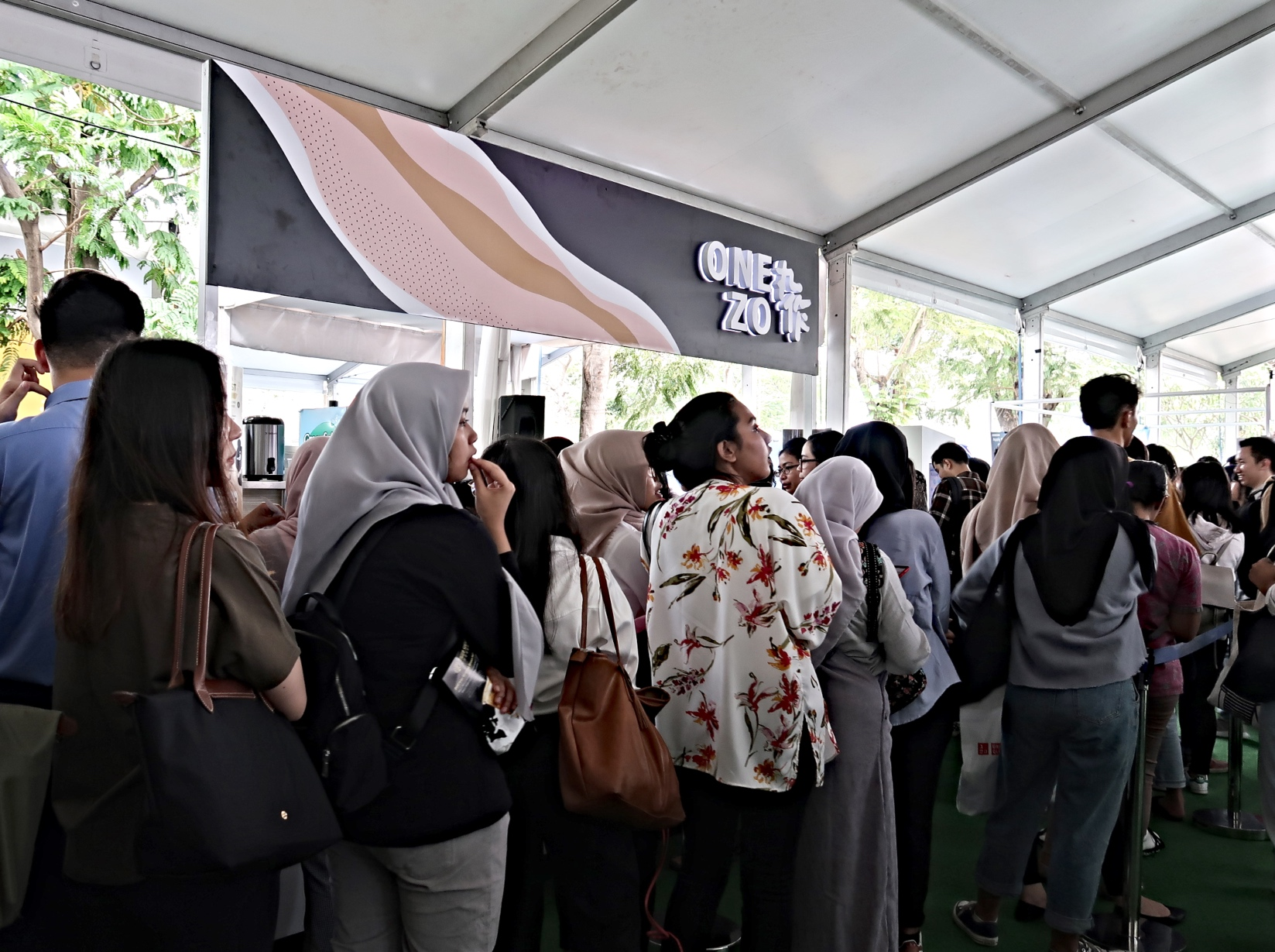 People line up for OneZo during the Boba Fest at Gandaria City shopping mall, South Jakarta.