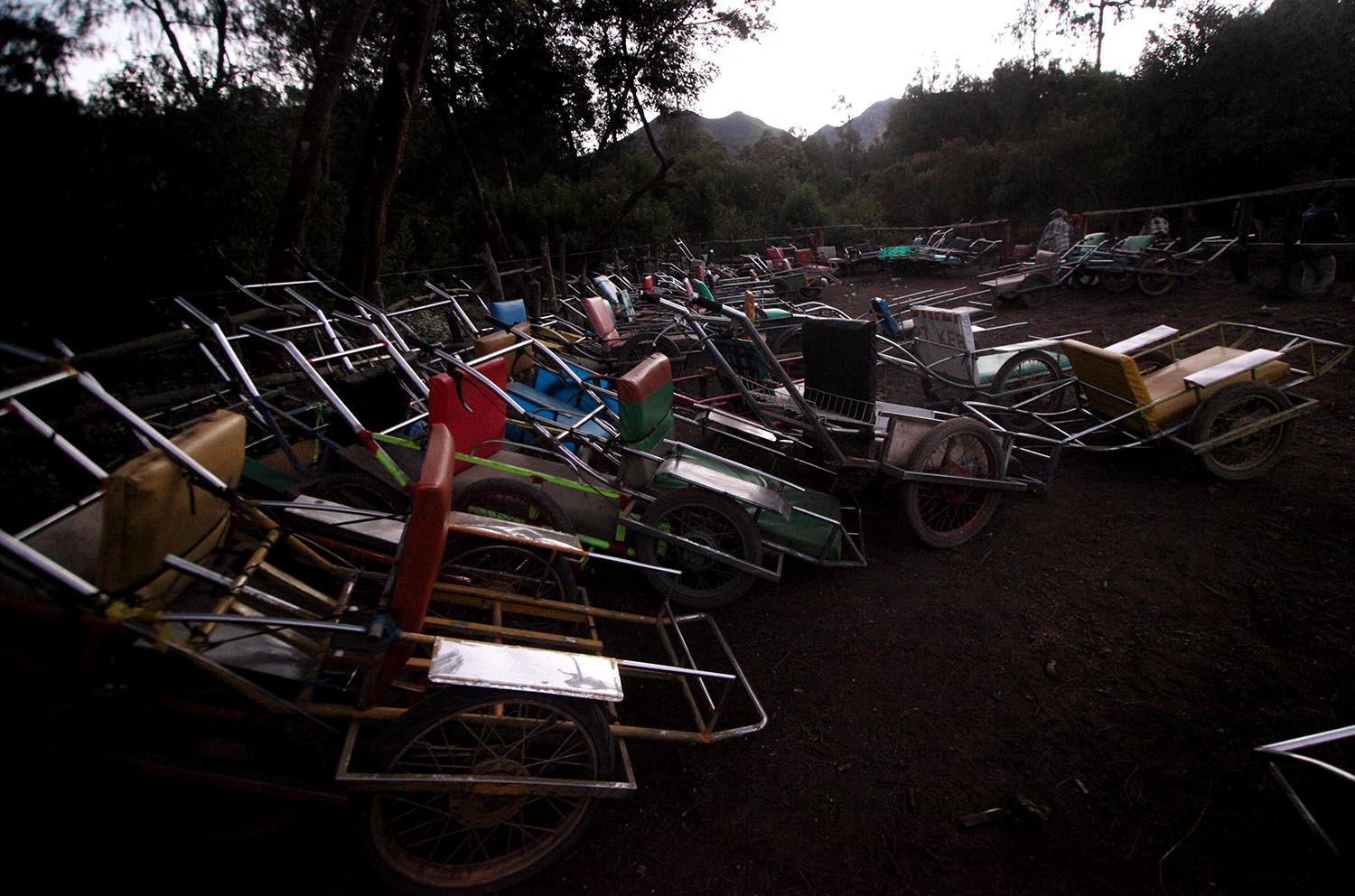 Hundreds of carts await travelers at Mount Ijen. JP/Boy T Harjanto