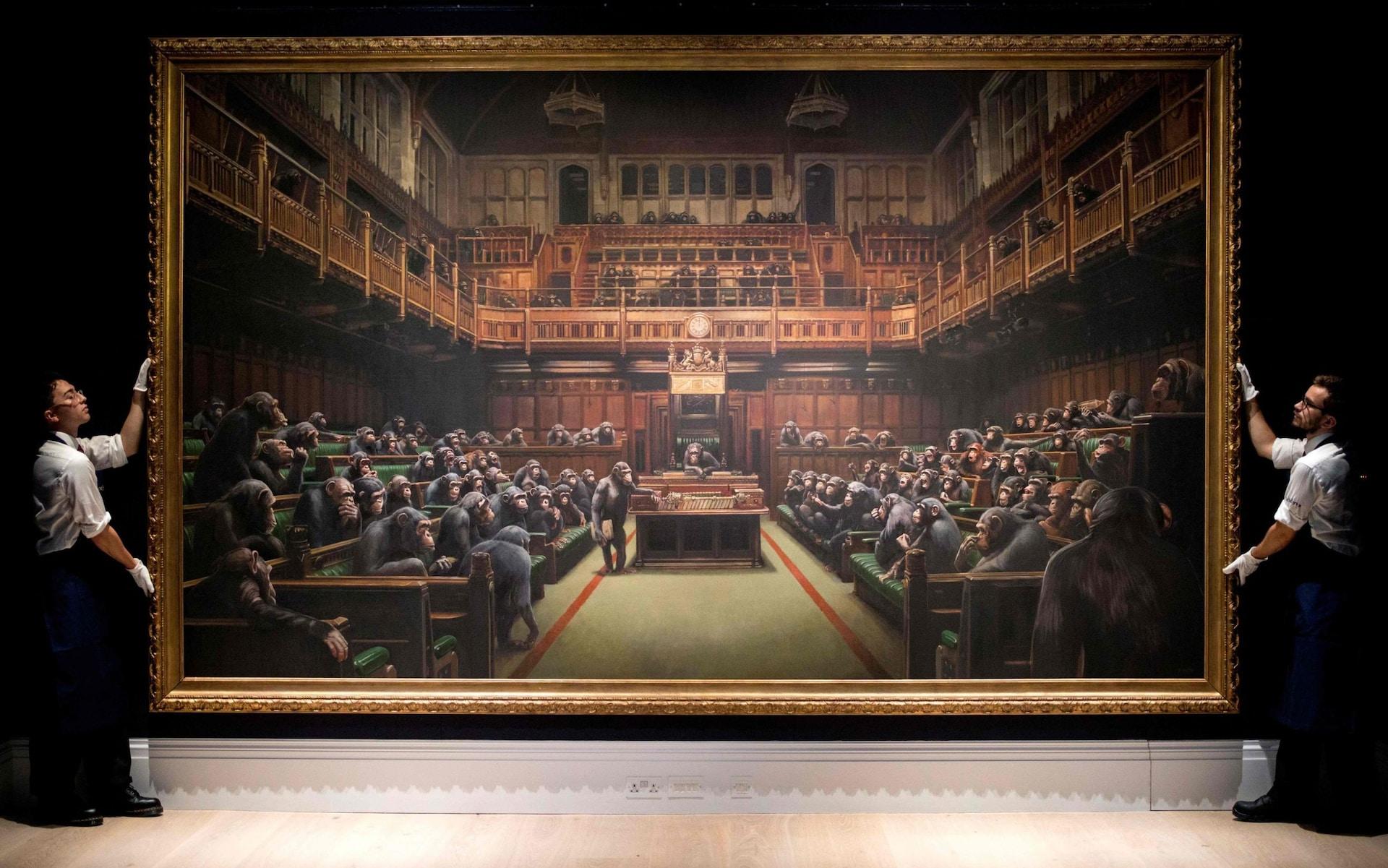 £9.9m chimp parliament painting smashes Banksy record