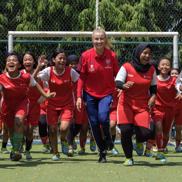 Arsenal soccer player Leah Williamson with Diah, 14, at her home in Jakarta, Indonesia.