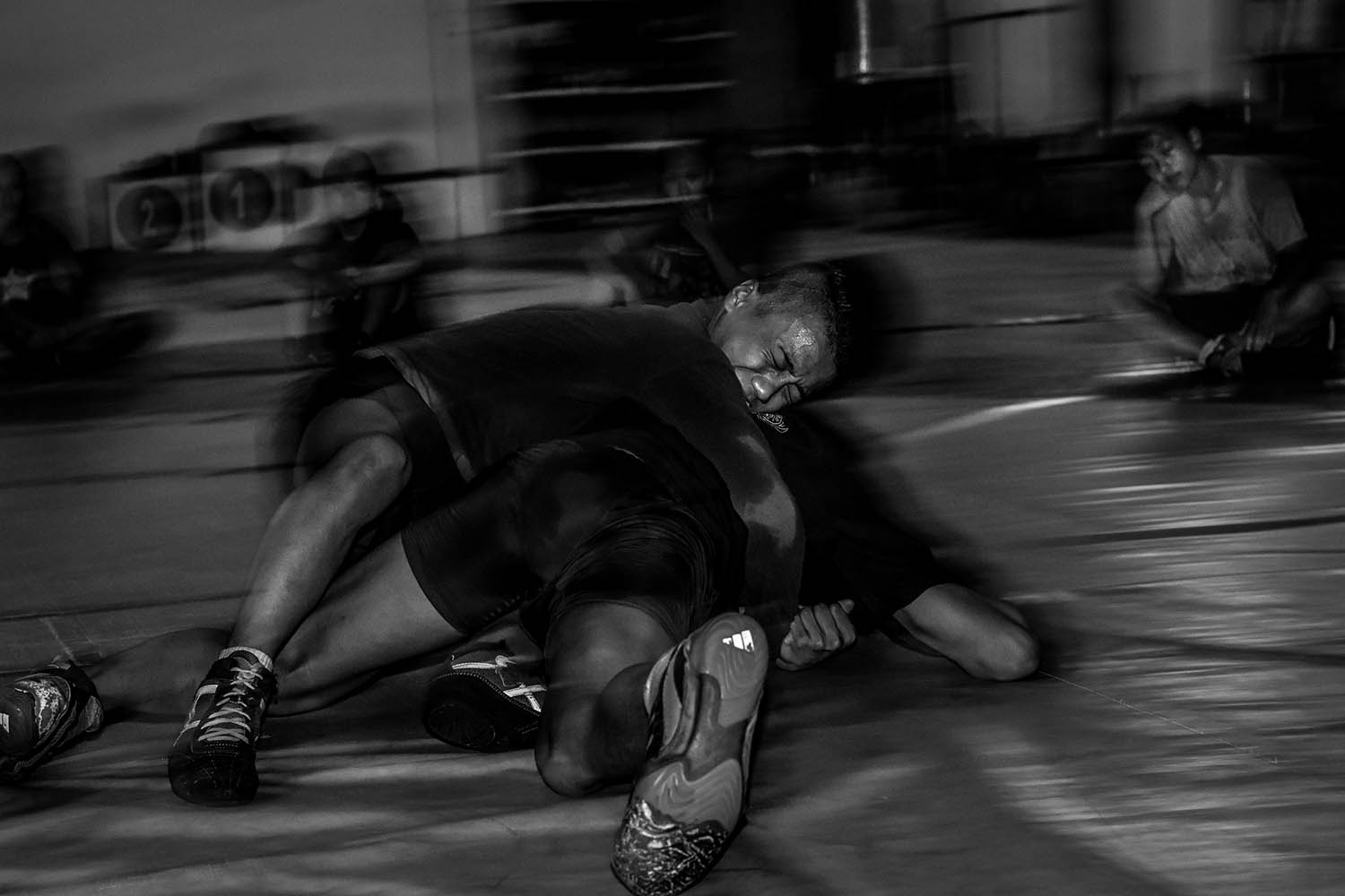 Several young athletes learn how to break free during wrestling. JP/Aman Rochman