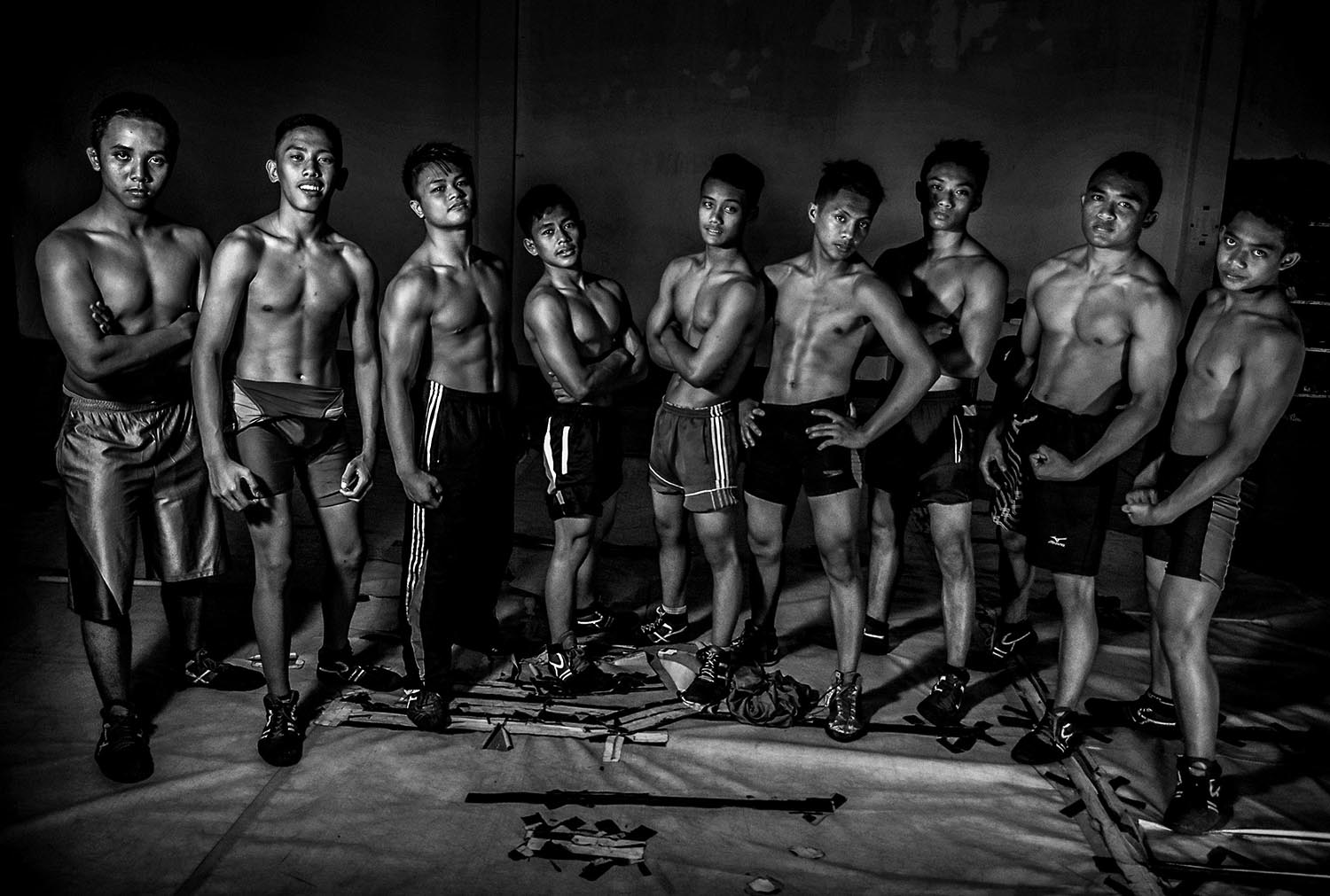 Student wrestlers pose for a picture after routine training. JP/Aman Rochman