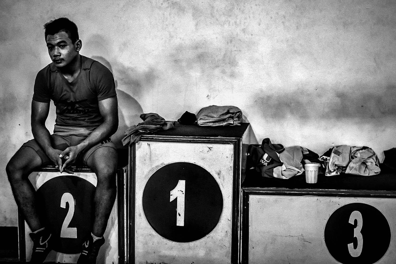 An athlete takes a break during training. JP/Aman Rochman