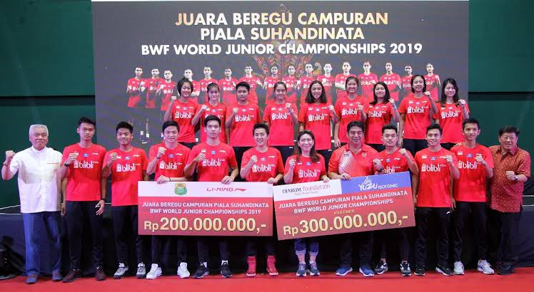 Indonesia's junior shuttlers showered with cash rewards over World Cup success