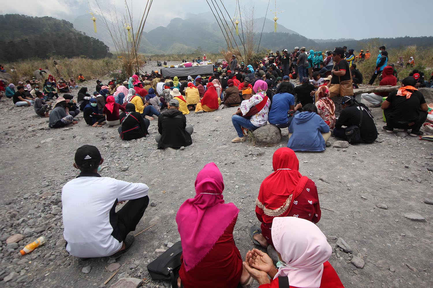 Participants sat on the volcanic ashes of Mount Merapi. JP/Boy T Harjanto