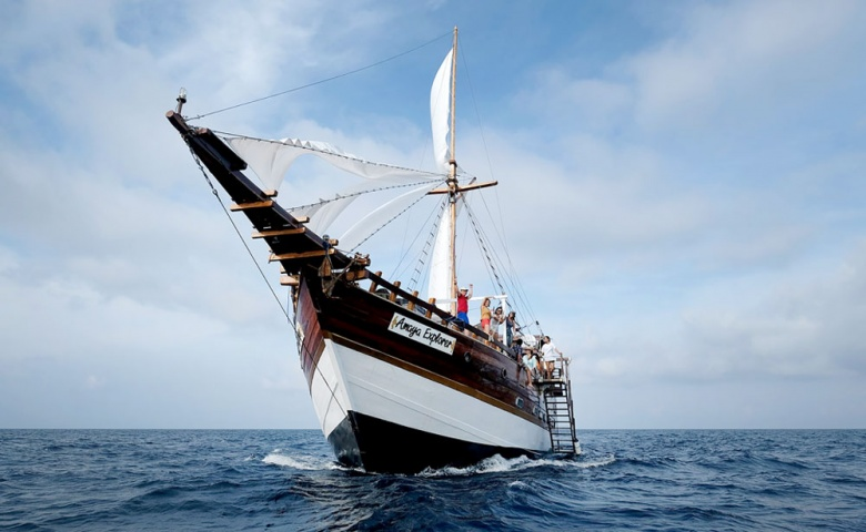 Off we go: The Amaya Explorer sails through the waters of the Banda Sea near Maluku.