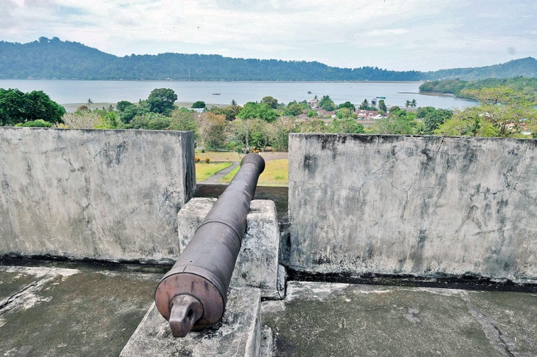 Relics of war: The Banda Strait as seen from the Fort of Belgica on Banda Neira Island, Maluku.