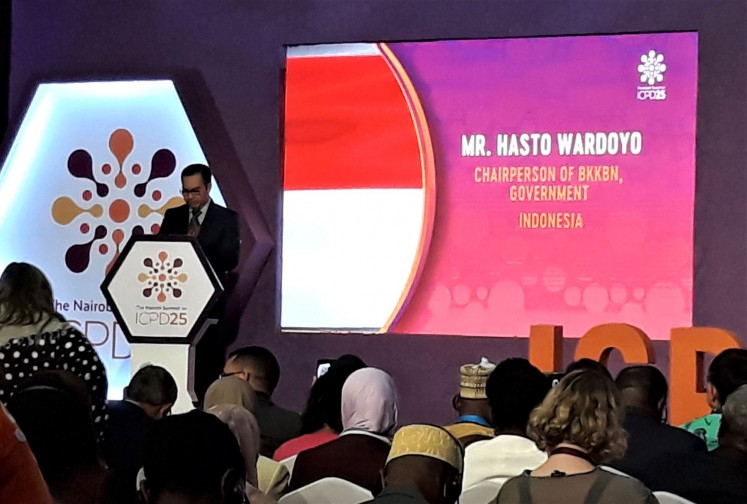 Making his point: National Population and Family Planning Board (BKKBN) chairman Hasto Wardoyo delivers Indonesia's Commitment Statement at the Nairobi Summit on ICPD25 in Kenya.