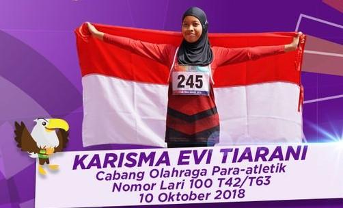 Para athlete Karisma Evi Tiarani breaks world record for women's 100 m