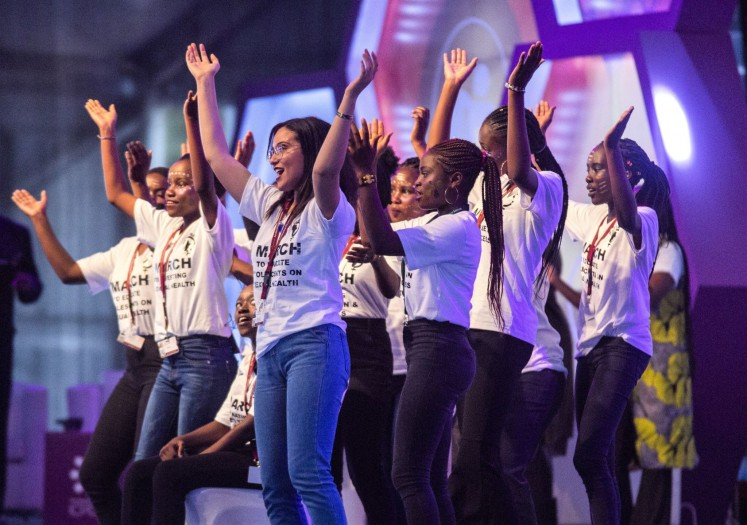 Let's say it: Young people perform a dance at the Kenyatta International Convention Center at the International Conference on Population and Development (ICPD) in Nairobi, Kenya.