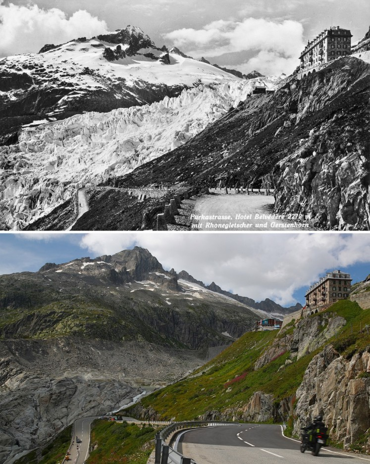 A combination photo shows the Rhone Glacier and Belvedere Hotel pictured before 1938 (top), seen in Obergoms, Switzerland and on August 21, 2019 (bottom).