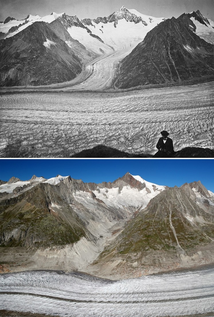 A combination picture shows the Aletsch Glacier photographed between 1860 and 1877 (top) in Fieschertal, Switzerland and on September 4, 2019 (bottom).