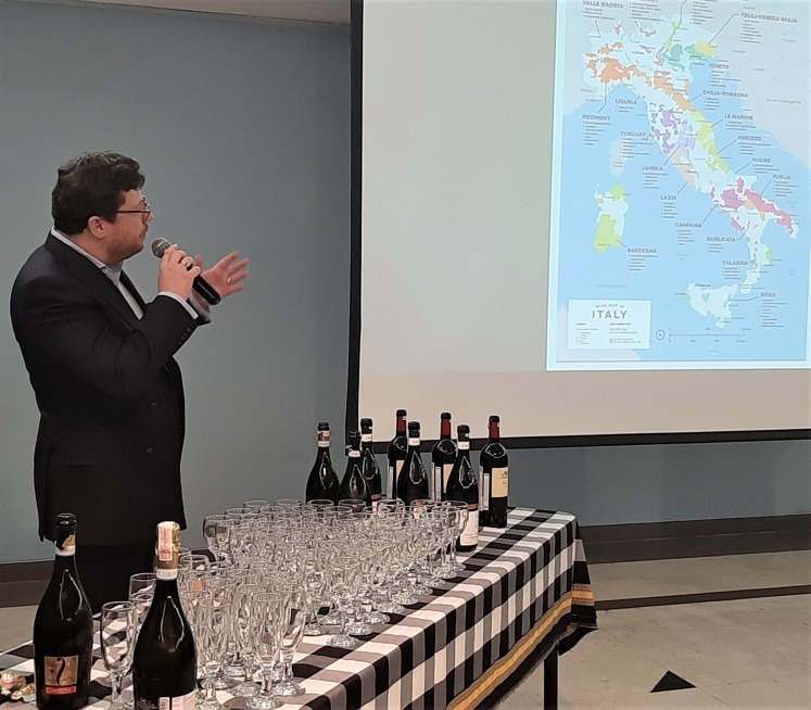 Food for thought: Italian food and beverage expert Martino Del Buono explains the characteristics of Italian wine.
