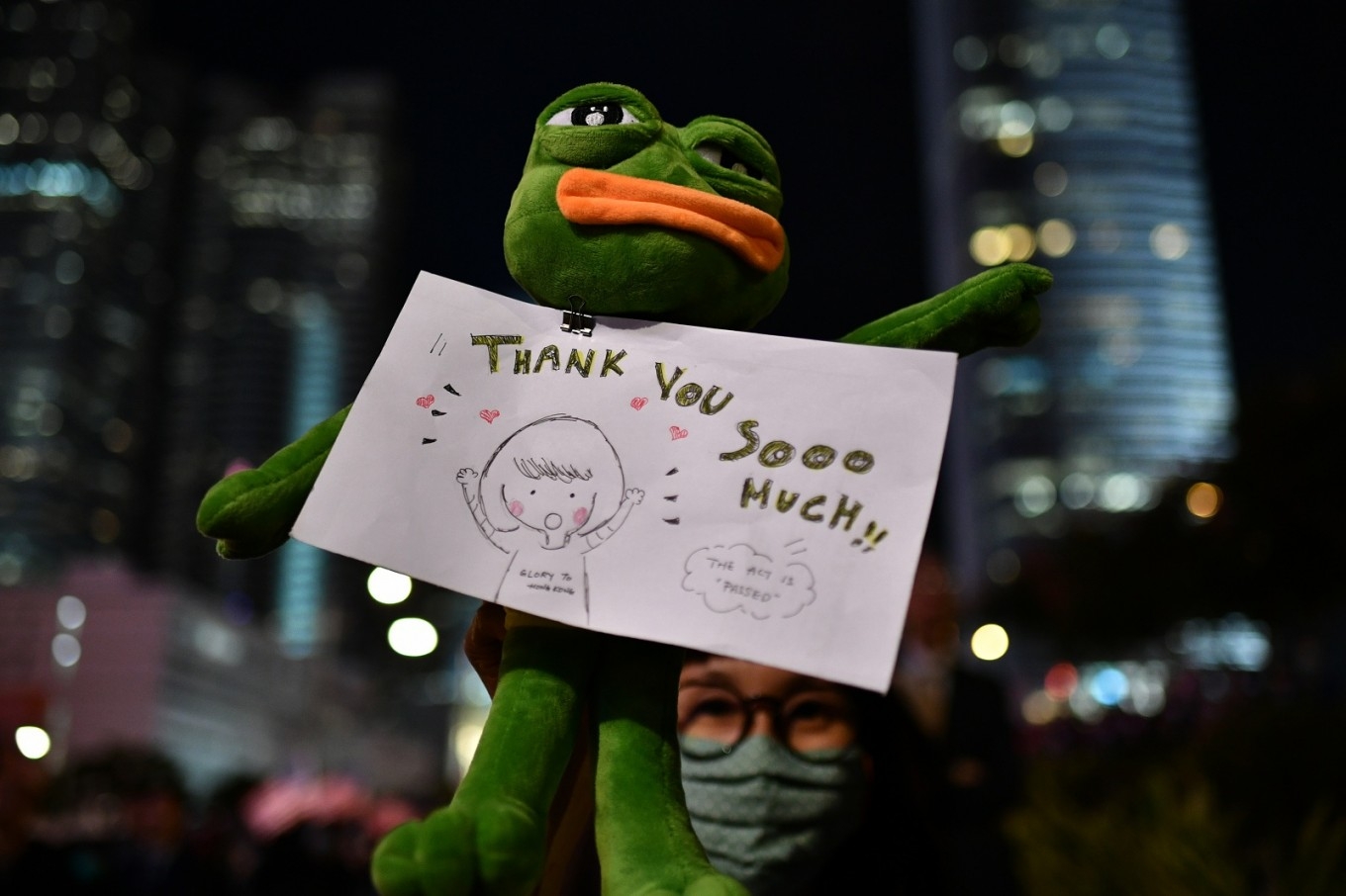 Pepe and protest pig: Internet memes come to life at Hong Kong rally
