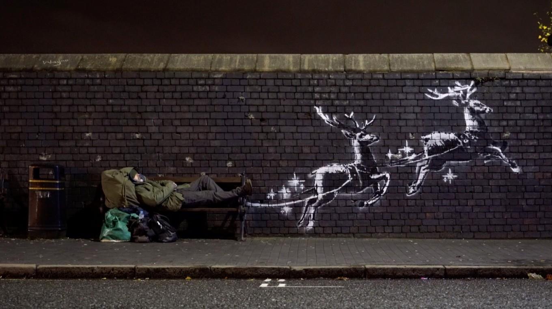 Banksy's flying reindeer highlight Christmas homeless plight