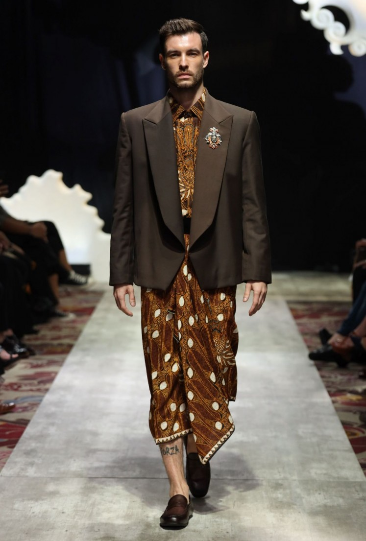East meets west: Some pieces combine traditional batik cloth with western style garments.