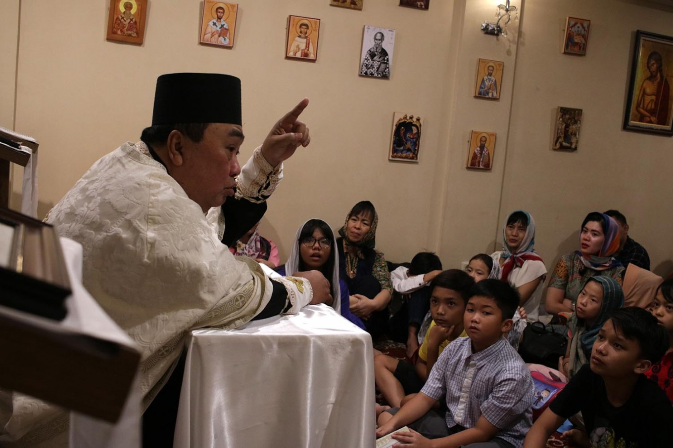 Servitude: Archimandrite Daniel Byantoro gives a sermon at the Janasuci Petrus & Paulus Church in Tangerang, Banten. JP/ Taufan Wijaya
