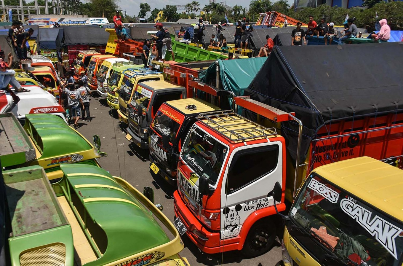 Colorful display: Hundreds of trucks take part in the annual 