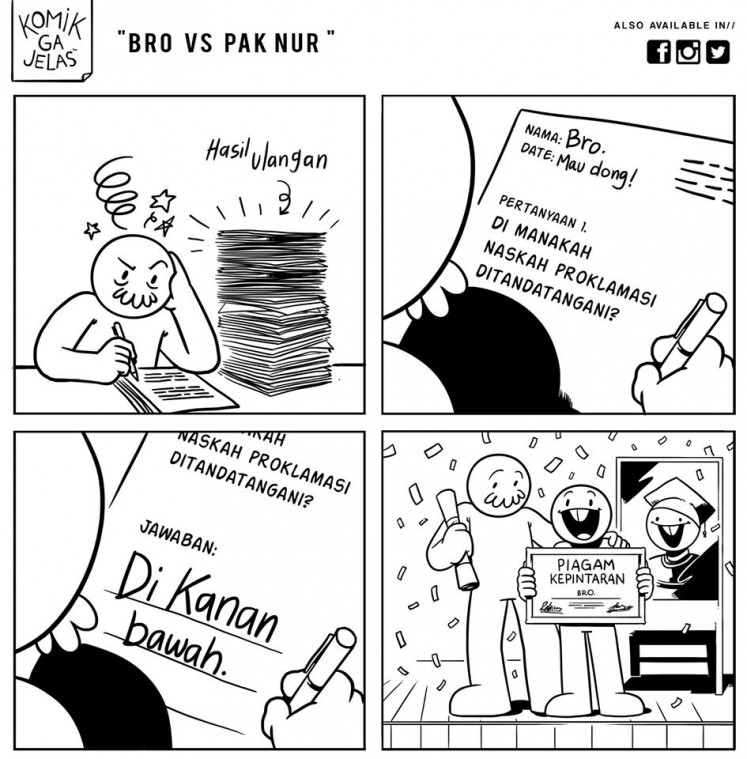 On the right side: Budi, the main character of the webcomic 'Komik Ga Jelas', humorously answers a test question about the location where the country's proclamation text was signed.