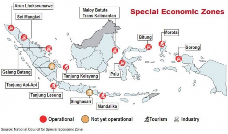 Map of special economic zones (SEZ) in Indonesia. Likupang (North Sulawesi) and Singhasari (East Java) have just recently been added as tourism SEZ, as well as Kendal (Central Java) as industrial SEZ.