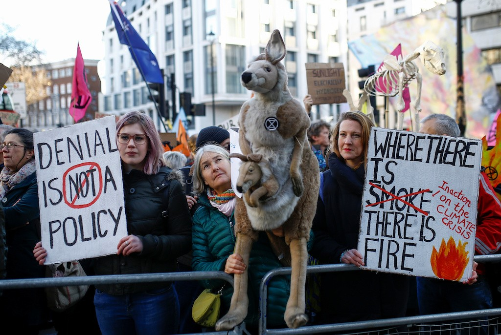 Climate change protests stretch to London as Australia bushfires rage