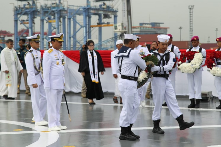 Indonesian Navy sows flower petals in remembrance of Arafura Sea battle