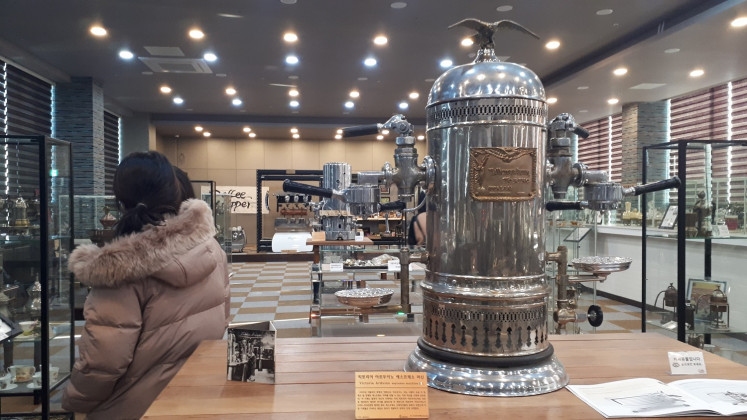 An espresso machine is displayed at the Coffee Cupper museum in Gangneung.