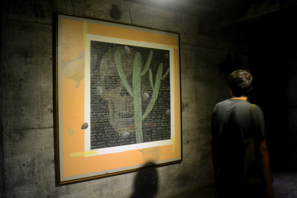 Painter Alfi often features words in his work.