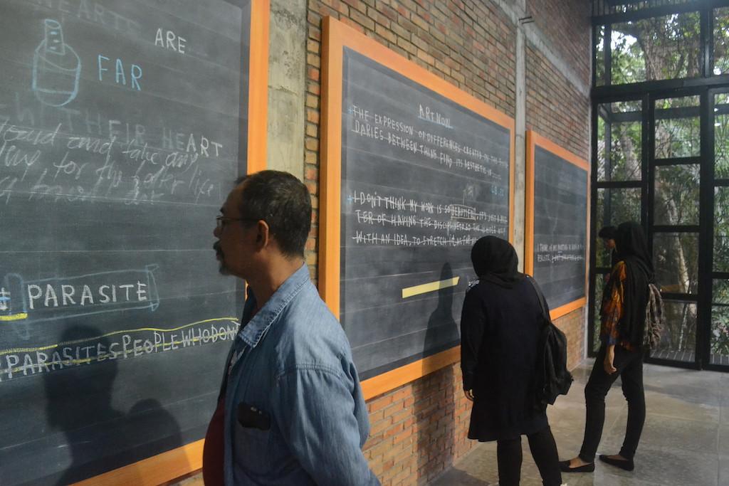 """Blackboard Series"" by painter Jumaldi Alfi at the Foot Note exhibition at SaRang Building in Bantul, Yogyakarta, runs until Feb. 21."
