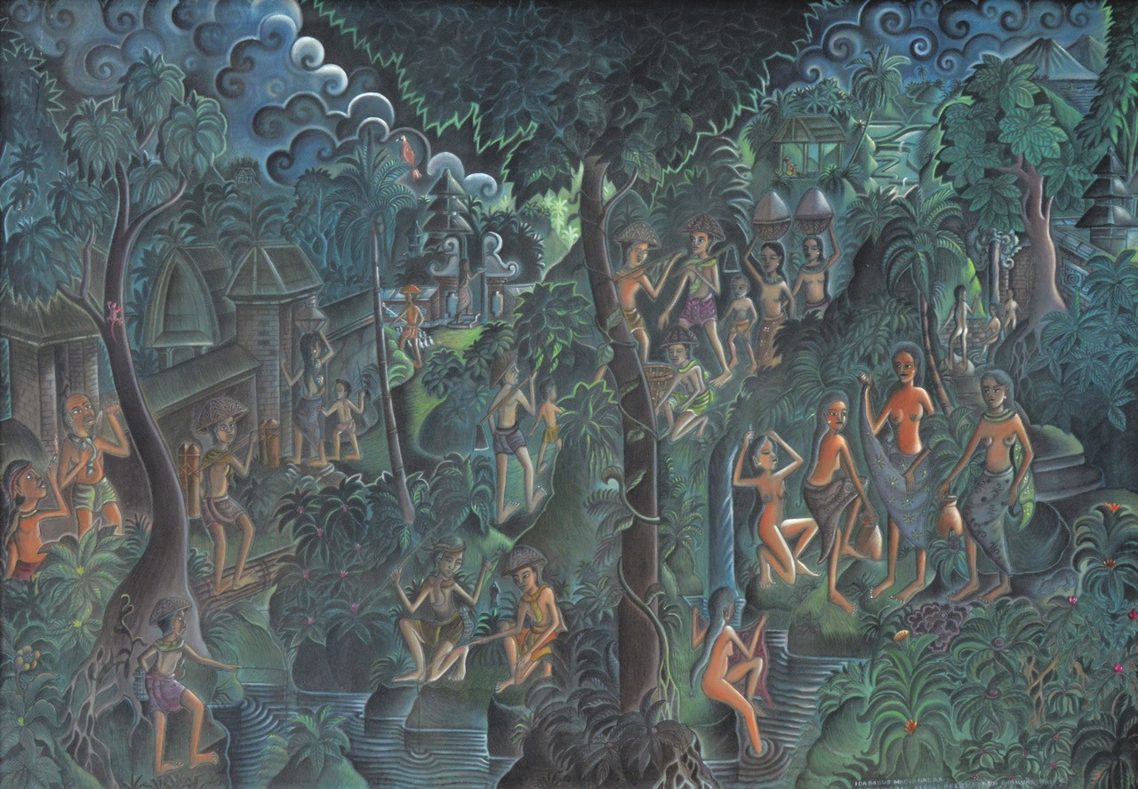 Lot 775: Ida Bagus Made Nadera, 'Bali, Desa Sorga, 1969, acrylic on canvas, 117 by 166 cm.