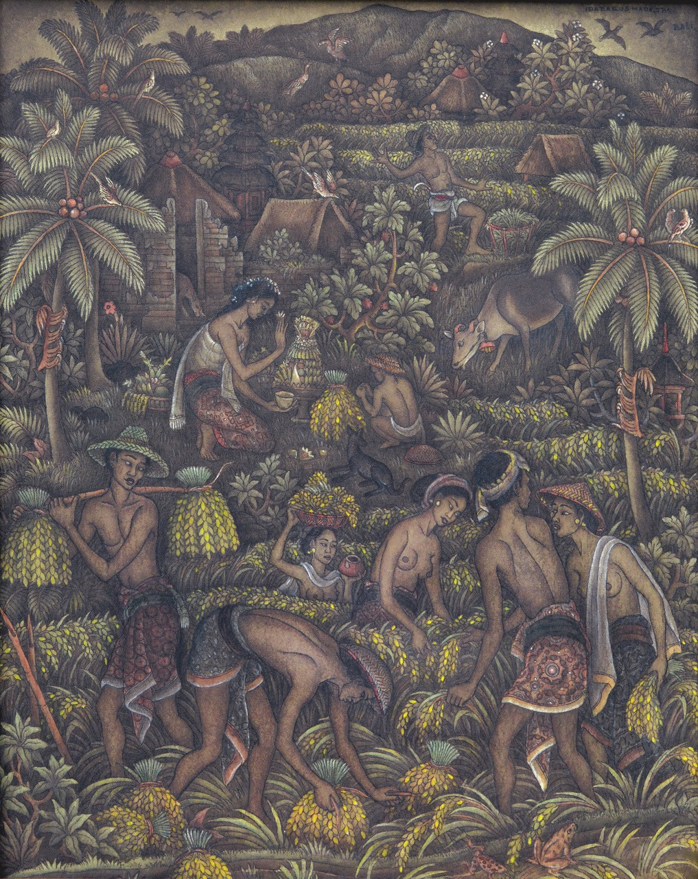 Lot 779: Ida Bagus Made Poleng, 'Harvesting', acrylic on canvas, 77 by 62 cm.