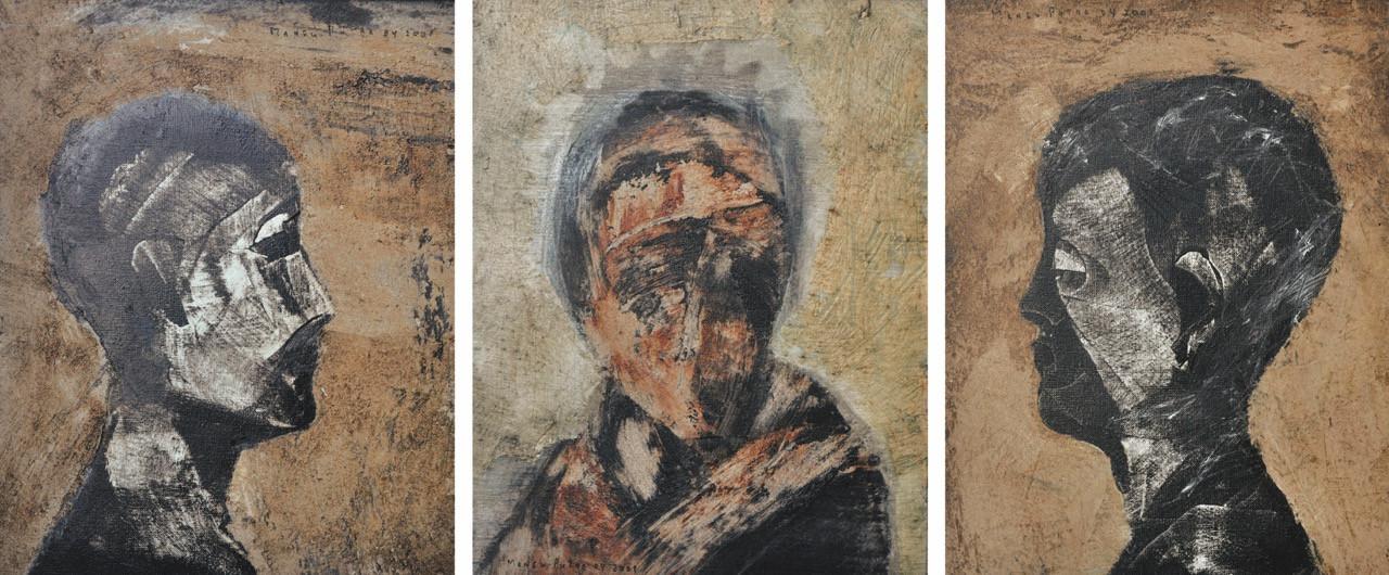 Lot 767: Agung Mangu Putra, 'Wajah-wajah', 2001, oil on canvas triptych, 51 by 40.5 cm.