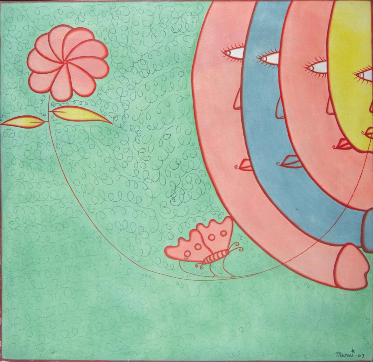 Lot 769: I Gusti Ayu Kadek Murniasih, 'Musim Semi', 2003, acrylic on canvas, 100 by 100 cm.