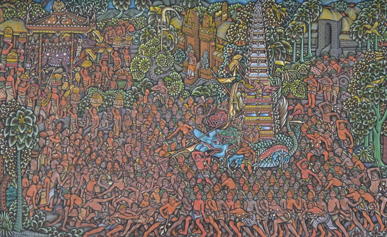 Lot 774: Ida Bagus Made Togog, 'Mengarak Bade', acrylic on canvas, 81 by 130 cm.
