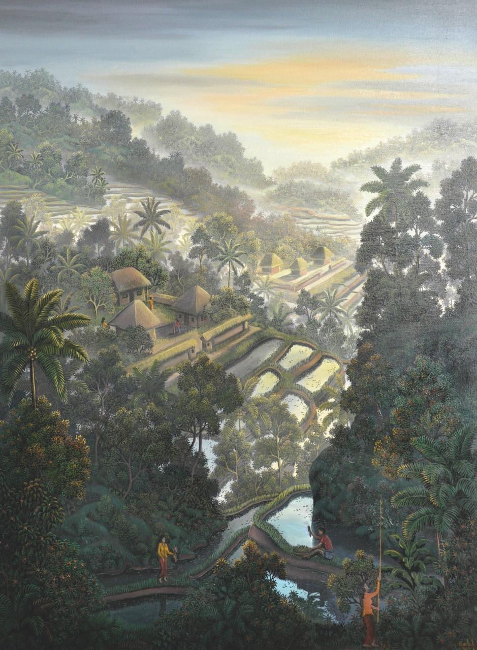 Lot 732: Ni Gusti Agung Galuh, 'Memetik Bunga', acrylic on canvas, 80 by 60 cm.