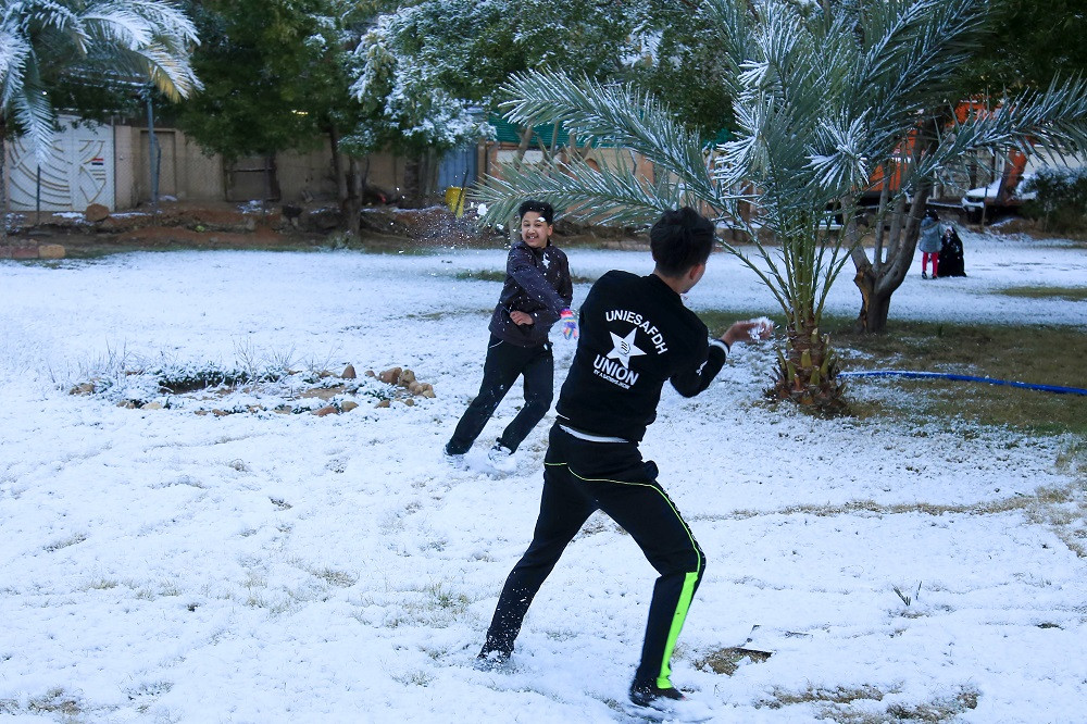 Ultra-rare snowfall carpets Baghdad
