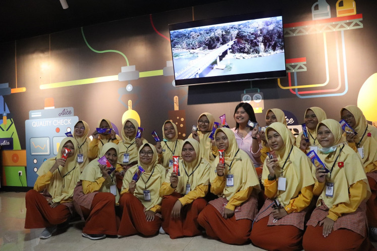 Students visit Aice Indonesia ice cream factory in Mojokerto, East Java.
