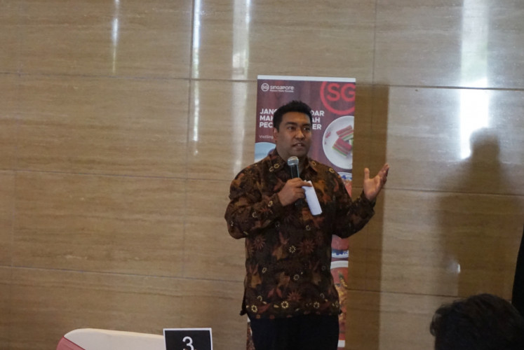Mohamed Firhan Abdul Salam, area director for Indonesia of Singapore Tourism Board, during Year-in-Review 2019 and Media & Trade Gathering of Singapore Tourism Board on February 18, 2020 at Ritz-Carlton Jakarta, Pacific Place in South Jakarta.
