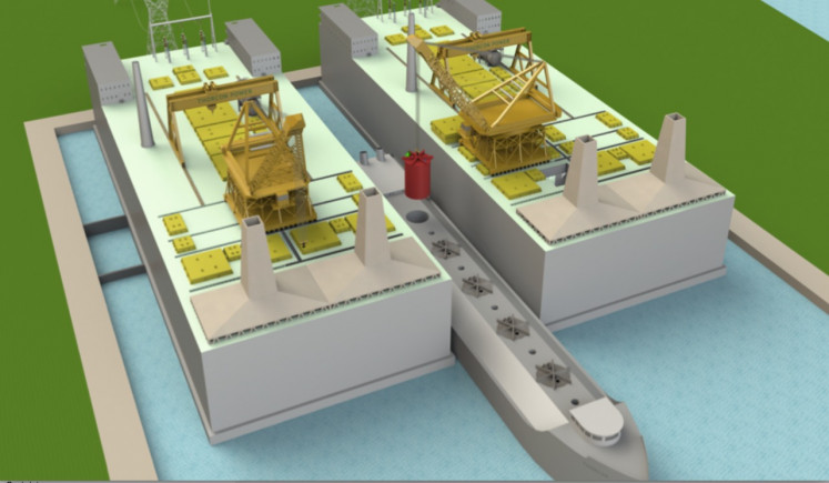Rendering of ThorCon International's proposed 500-MW floating nuclear plant in Indonesia. The facility would run on thorium, a radioactive metal that is more readily available than uranium, but the technology of which is less developed.